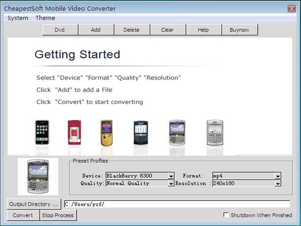 Click to view CheapestSoft Mobile Video Converter 2.0.13 screenshot