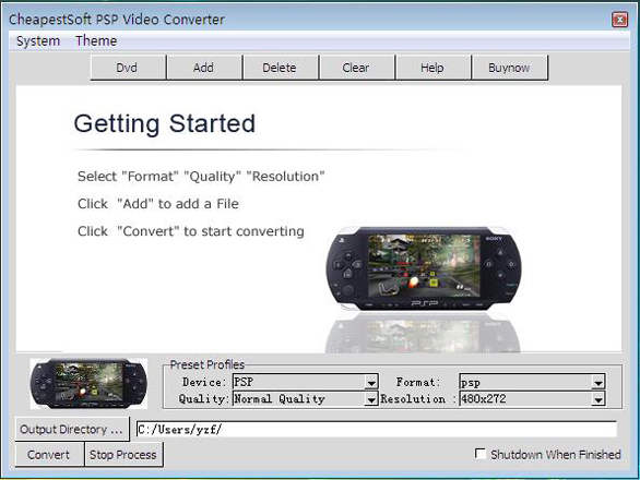 CheapestSoft PSP Video Converter Screen shot