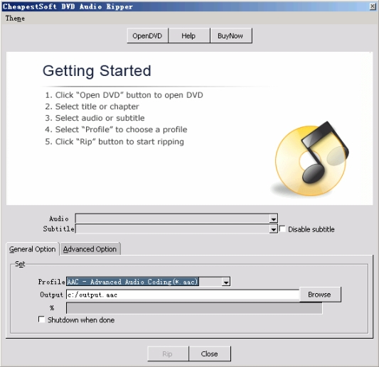 Click to view CheapestSoft DVD Audio Ripper 1.0.3 screenshot