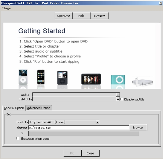 Click to view CheapestSoft DVD to iPod Video Converter 1.0.3 screenshot