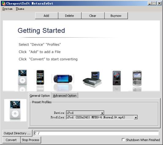 Download Metacafe video files to iPod video,PSP video,divx avi,xvid avi,etc